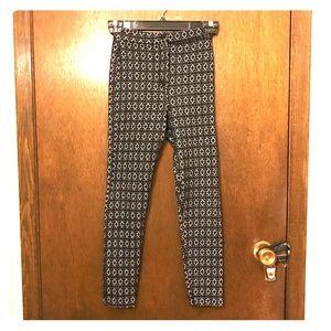 Topshop petite black white geometric leggings sz 4